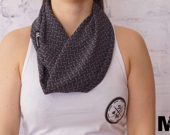 SALE * grey scarf with black pattern