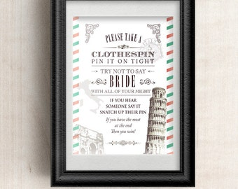"""Printable Vintage Italian Airmail Bridal Wedding Shower Clothespin Game - White, 8""""x10"""", JPG Instant Download"""