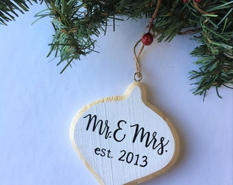 Personalized Ornament | Mr. and Mrs. | Christmas Ornament | Wood | Wedding Ornament | Established |  First Christmas | Custom Ornament