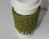 Crochet Coffee Cup Sleeve (Avocado green, 100% cotton)