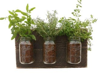 Reclaimed Wood Herb Planter   Dark Wood Hanging Planter Indoor Herb Garden  Vertical Planter Vertical Garden