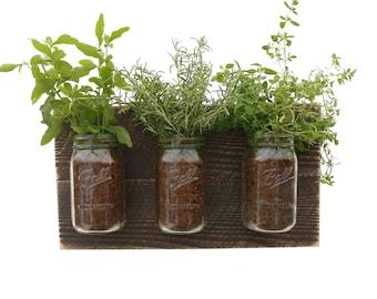 Reclaimed Wood Herb Planter - dark wood hanging planter indoor herb garden vertical planter vertical garden indoor wall planter wall decor
