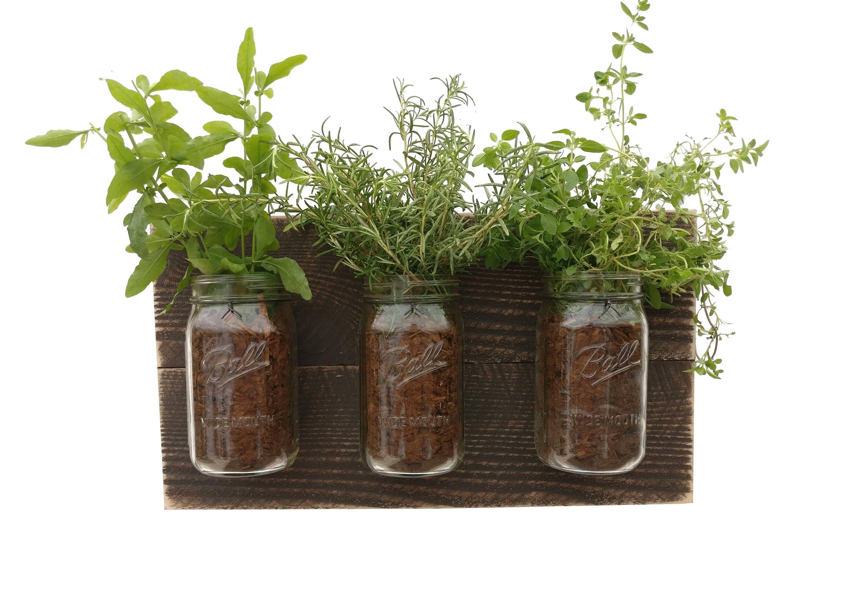 Reclaimed Wood Herb Planter - dark wood hanging planter indoor herb garden  vertical planter vertical garden
