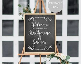 Wedding Welcome Sign, Large Wedding Welcome Sign, Chalkboard Wedding Sign, Printable Welcome Sign, Welcome Sign Printable File PDF