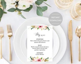 Wedding Menu Printable Food