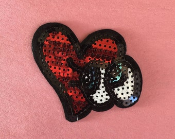 Sequin Heart iron on patch