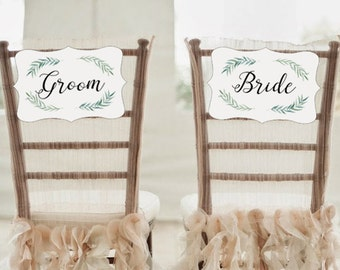 Bride Groom Chair Sign, Green Wedding Chair Sign, DIY Bride and Groom Sign, Instant Download, Wedding Chair Signs, Hanging Chair Sign