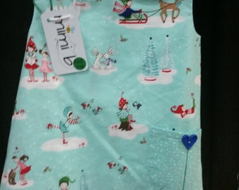 Baby Toddler Girl Christmas Sweet Pocket Pinafore Tunic Top Size 2T