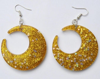 Gold moon earrings sparkly glitter