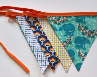 Garland pennants in blue and orange fabrics Soft Cactus