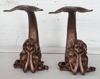 Mermaid Bookends / Mermaid Book End / Mermaid Statue / Mermaid Decor / Mermaid Figure / Nautical Decor / Mermaid Sculpture
