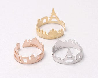 Paris Skyline City Open Band Ring, Adjustable Size