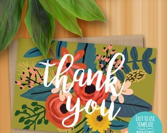 A6 4.625 x 6.25 Printable Thank You Instant Download Card - Peach, Red, Olive Green, Yellow Flowers, Green Leaves, White Script Copy