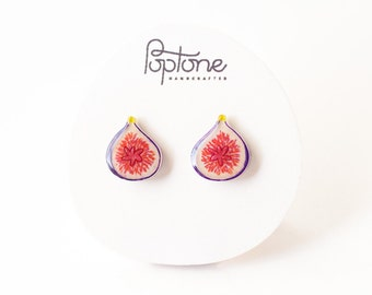 Fig Earrings, fig studs, fruit earrings, food jewelry, common fig fruit, vegan earrings