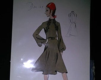 Vintage Fashion Sketch Haute Coutre Hand Drawn And Painted CONCEPT ARTWORK ****1960's*******