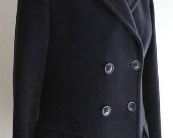 Vintage 60s Jaeger Navy Wool Coat Small Medium
