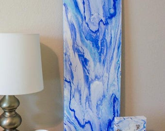 "ORIGINAL ACRYLIC 36x12"" Marble Style Blue & White Painting"