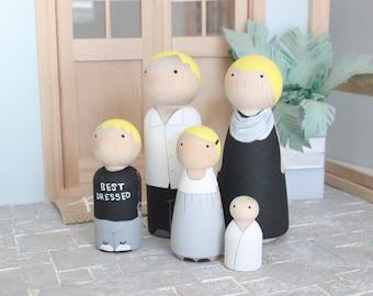 Ready to Ship Monochrome Family peg dolls