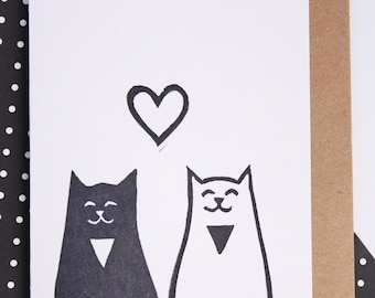 cat card, greeting card, cat lover card, anniversary card, valentines, best friend card, just because, monochrome