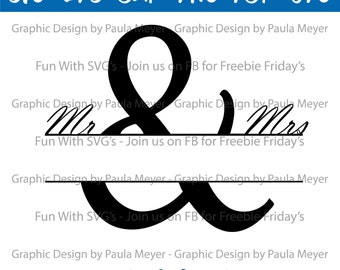 Split Monogram SVG, Fun With SVGs Digital Files - Edit, Print or Cut on your Cricut or Silhouette, Wedding Gift, Engagement Gift