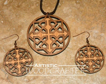 Wooden Geometric Necklace and Earring set (Walnut/Bamboo)