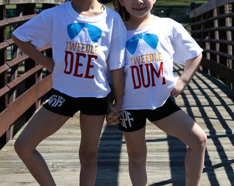 Tweedle Dee & Tweedle Dum Shirt Set~Partners in Crime~Alice in Wonderland~Cheer Clothes~All Star Cheerleading~Cheerleading