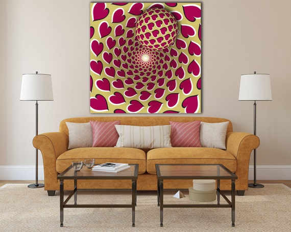15% OFF coupon on Large love optical illusion print, hearts optical ...