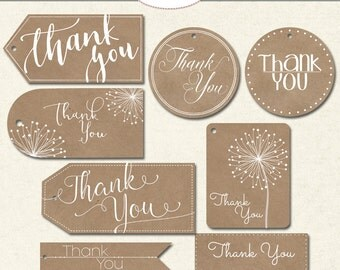 Craft Paper Thank You Tags, Printable Tags, Rustic Thank You's