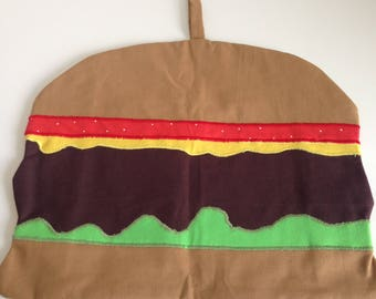 Cheeseburger Clothespin Bag, Peg Bag, peg container, laundry bag with Applique, Hand Made Hamburger, Beefburger