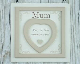 Mum Plaque Hearts Always My Mum Forever My Friend  Birthday Gift F1635C