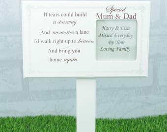 Personalised Mum & Dad Memorial Grave Stick Grave Decoration If Tears Could Build Grave Ornament F1599B/P