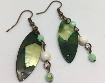Hand made green shell bead earrings with jade green accent