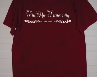 Phi Mu 121 Script Est 1852 Comfort Color TShirt, Short Sleeve or Long Sleeve with White Letters