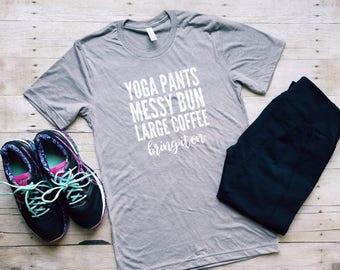 Yoga Pants Messy Bun Large Coffee Bring It On Shirt
