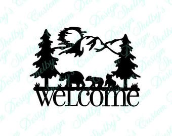 Bear Decal, Welcome Wall Decal, Vinyl Wall Art, Wall Art Decals, Welcome Decal, Decorative Wall Decals, Cool Wall Decals, Welcome Stickers