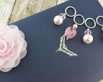 Knitting stitch markers, place markers, large ring, slip marker, knitters gift, pink stitch marker, set of 4
