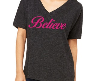 Believe Slouchy V-Neck Tee, Activewear