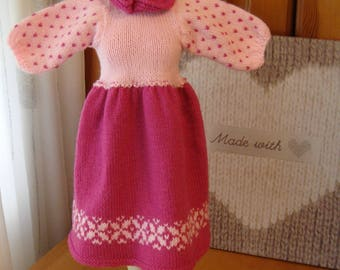 Pink Dolls Dress and Petticoat Hand knit in double knit acrylic wool Fair Isle pattern and lace edging