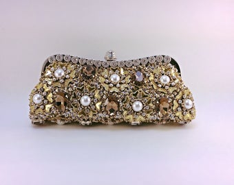 High fashion embellished clutch,embroidery bag,beaded bag,unique clutch,Crystal clutch,party clutch,bridal clutch,prom clutch,wedding clutch