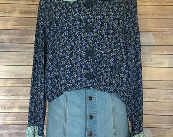 Peter Pan Collar Blouse   Blue Floral Print   Peter Pan Collar Shirt   Summer Blouse   Floral Shirt   70s Blouse   Hipster Blouse   Boho