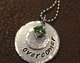 """hand stamped """"overcomer"""" necklace, personalized """"overcomer"""" birthstone necklace, inspirational gift, birthday gift"""