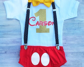 Mickey Mouse Outfit / Mickey Mouse First Birthday / Mickey 1st Birthday Bodysuit /Mickey Birthday Shirt / Boy 1st Birthday