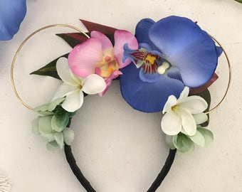 Blue Polynesian Princess Hawaiian Floral Wire Ears Headband - Perfect for a visit to Aulani or Disney to see Minnie & Mickey (made to order)