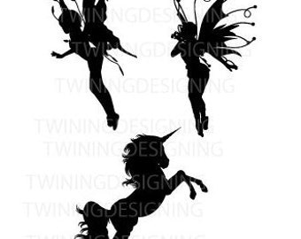Fairies and unicorn SVG PNG DXF digital file