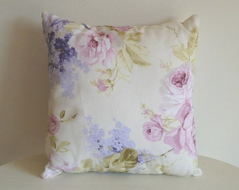 Floral pillow, pink roses, violet flowers, light blue pillow, botanic pillow, plants pillow,  cotton cover