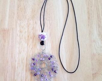 Purple Bead Wire Crochet Necklace