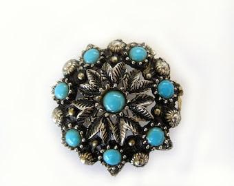 Turquoise Dark Silvertone Vintage Brooch Pin, Round