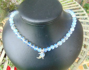necklace, opal glass, with moon, charm 20 in long