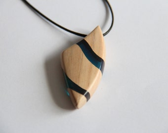 Pendant / Necklace in wood and blue resin