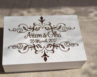 White Wedding Ring Box Double Wedding Ring Box Personalized